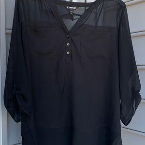 Express Black sheer blouse size Large